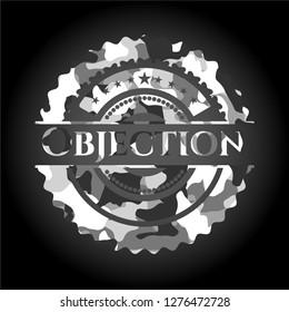 Objection grey camouflaged emblem
