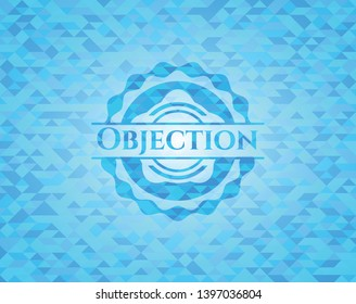 Objection light blue mosaic emblem