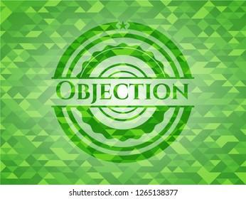 Objection realistic green emblem. Mosaic background