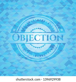 Objection realistic sky blue emblem. Mosaic background