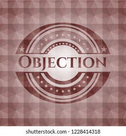 Objection red seamless emblem with geometric pattern.