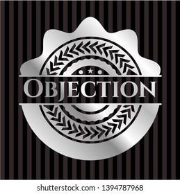 Objection silver badge. Vector Illustration. Mosaic.