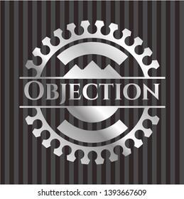 Objection silver shiny emblem]. Vector Illustration. Mosaic.