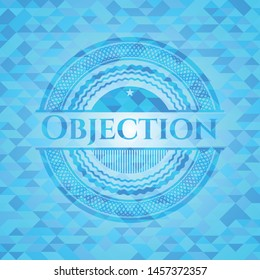 Objection sky blue emblem with triangle mosaic background