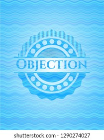 Objection water wave concept badge.