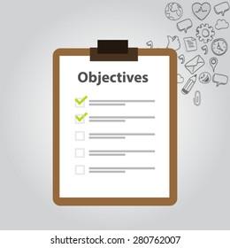 objective board goal check list