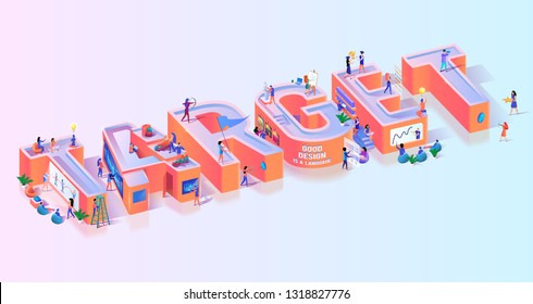 Objective Business Target Effort Typography Banner. Leadership Strategy for Competition Focus. Amateur Skill Failure to Hit Goal Concept Motivation Isometric 3d Vector Illustration