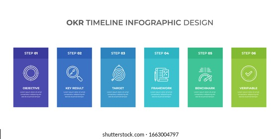 Objective Key Result infographics. Timeline with 6 steps, labels. Vector infographic element.