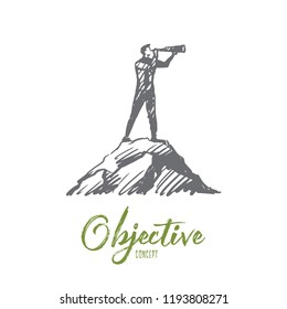 Objective, target, strategy, future, success concept. Hand drawn man looking forward with spyglass concept sketch. Isolated vector illustration.