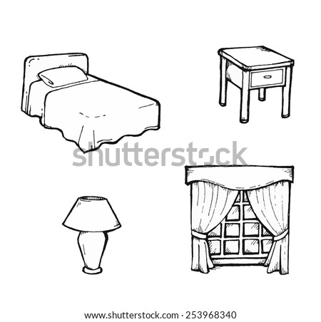 objects found bedroom stock vector royalty free 10346 | objects found bedroom 450w 253968340