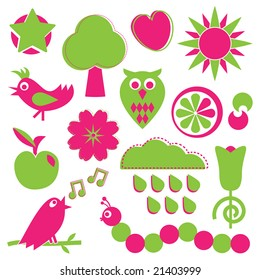 objects of nature in pink and green