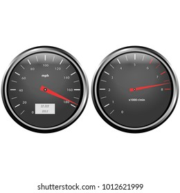 Objects are represented in the form of a speedometer and a tachometer in a metal case with glass and glare, arrows of red color and numerals.