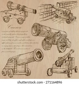 OBJECTS (set no.8) CANNONS (Ordnance) - Collection of an hand drawn vector illustrations. Each drawing comprise a few layers of lines, the colored background is isolated. Easy editable.