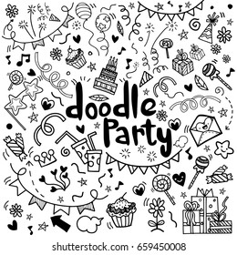 Objects and symbols on the Party element. Hand drawing Doodle, vector illustration.