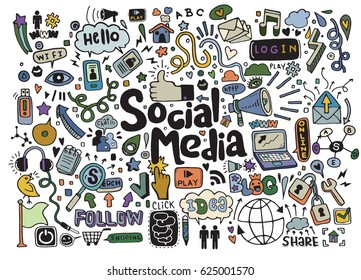 Objects and symbols on the Social Media element. Vector illustration