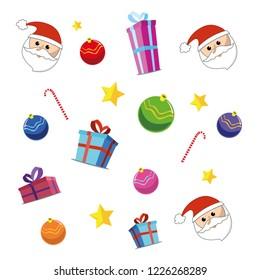 Objets vector set. Illustration. Merry christmas. Happy Birthday. Santa claus. Doodles. Background
