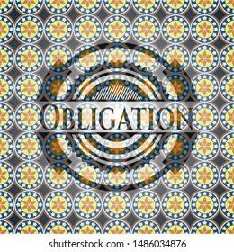 Obligation arabic style emblem. Arabesque decoration.