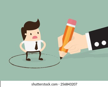 Obligation, Big hand draw a circle around young businessman. Business concept illustration.