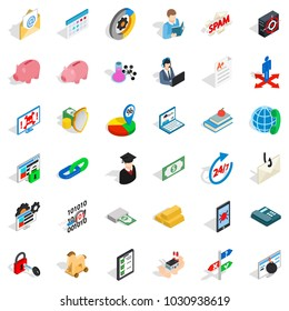 Obligation icons set. Isometric set of 36 obligation vector icons for web isolated on white background
