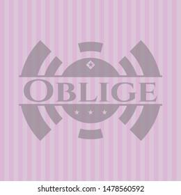Oblige pink emblem. Vector Illustration. Detailed.