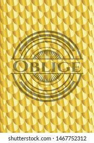 Oblige shiny golden badge. Scales pattern. Vector Illustration. Detailed.