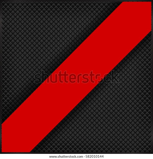 The oblique red banner at the black background