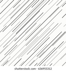 Oblique straight parallel lines seamless pattern.Repetitive, dashed, diagonal and parallel lines of different lengths on white background.