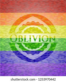 Oblivion emblem on mosaic background with the colors of the LGBT flag