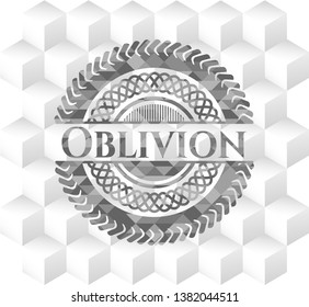 Oblivion grey badge with geometric cube white background
