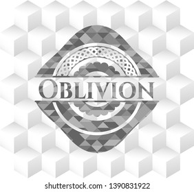 Oblivion grey emblem with cube white background