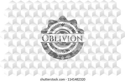 Oblivion grey emblem. Retro with geometric cube white background