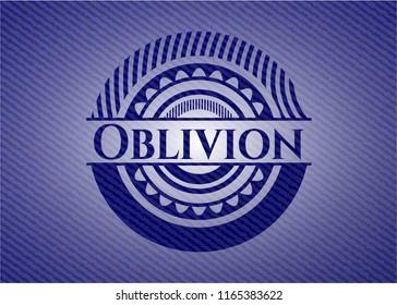 Oblivion jean or denim emblem or badge background
