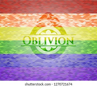 Oblivion on mosaic background with the colors of the LGBT flag