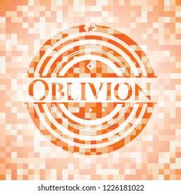 Oblivion orange tile background illustration. Square geometric mosaic seamless pattern with emblem inside.