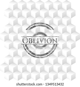 Oblivion realistic grey emblem with geometric cube white background