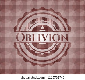 Oblivion red badge with geometric pattern background. Seamless.