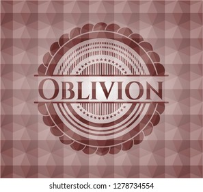 Oblivion red emblem with geometric background. Seamless.