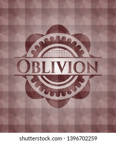 Oblivion red seamless badge with geometric pattern background.