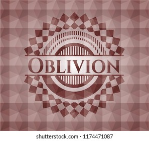 Oblivion red seamless emblem or badge with abstract geometric polygonal pattern background.