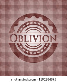 Oblivion red seamless emblem or badge with geometric pattern background.