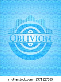 Oblivion water wave concept style badge.