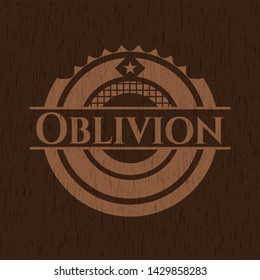 Oblivion wooden emblem. Vector Illustration.