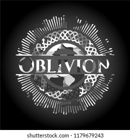 Oblivion written on a grey camouflage texture