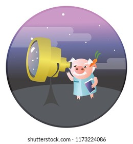 Oblivious funny pig scientist uses telescope to see something in the sky. Vector illustration.  Isolated on transparent background.  Excellent for the design of postcards, posters, stickers and so on.
