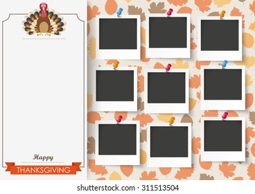Oblong banner with 9 pics, ribbon, turkey and foliage. Eps 10 vector file.
