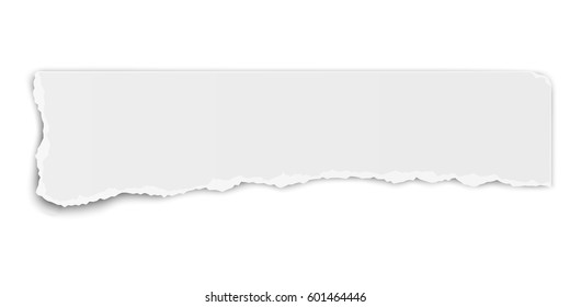 Oblong paper tear with soft shadow isolated on white background