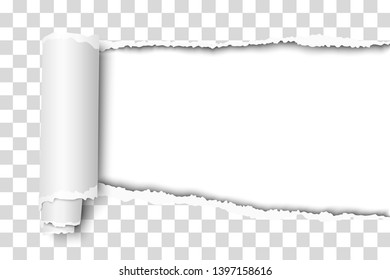 Oblong snatched hole in transparent sheet of paper from right side to left side with paper curl, shadow and white resulting background. Vector paper template.