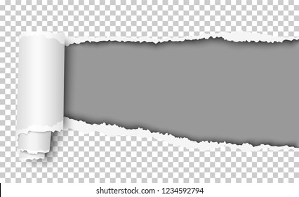 Oblong torn hole in transparent sheet of paper with paper curl and gray resulting background. Vector template paper design.