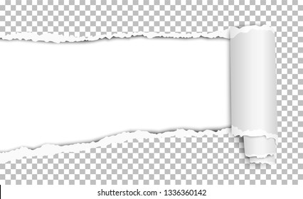 Oblong torn hole in transparent sheet of paper with shadow and paper curl. White resulting background. Vector paper mock up.
