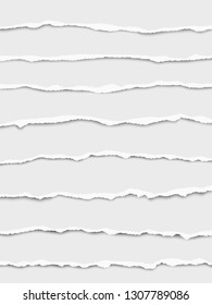 Oblong torn vector white paper wisps placed one under another with soft shadow. Paper mock up.